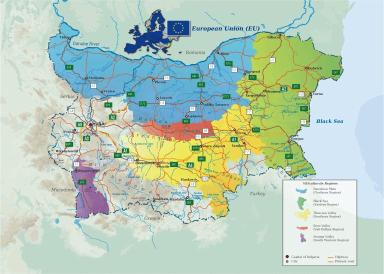 wijnmap 5 bulgaarse wijnstreken